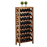 BXU-BG vino de 8 plantas estante grande independientes estante de madera Vitrinas estantes de madera maciza con 40 botellas de contenidos