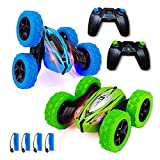 2 Pack Remote Control Car for Boys Girls 4WD Adults Kids RC Stunt Cars 2.4Ghz Double Sided 360°Rotating Monster Race Trucks Toys with Led Lights & 4 Rechargeable Battery,Blue+Green
