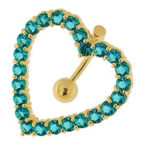 3 micron 18 K geelgoud vergulde klinknagels aquamarijn CZ steen hart rond navel sterling zilveren staaf buik piercing