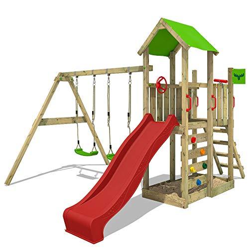 FATMOOSE Spielturm MagicMango Move XXL Klettergerüst mit Doppelschaukel, roter Rutsche und Kletterwand