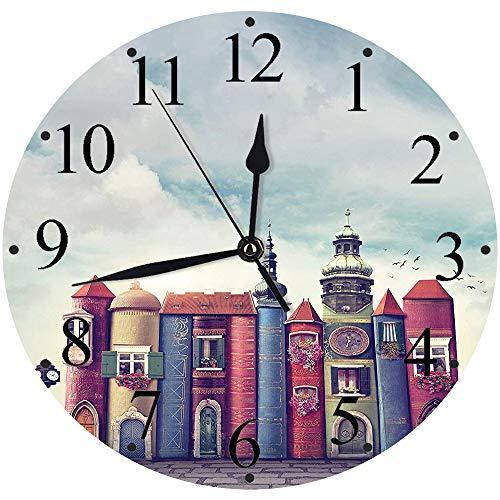 Yaoni Silencioso Wall Clock Decoración de hogar de Reloj de Redondo,Fantasía, Ciudad con Libros Antiguos Edificios de Estilo Aves Cielo Nublado Literatura Magi,para Hogar, Sala de Estar, el Aula