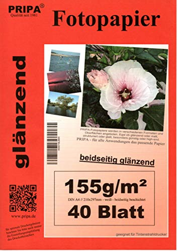 pripa beidseitig 40 Blatt Fotopapier Photopapier A4, 155g - beidseitig Glossy glaenzend - sofort trocken - wasserfest - hochweiß - sehr hohe Farbbrillianz Fuer Inkjet – Tintenstrahl Drucker
