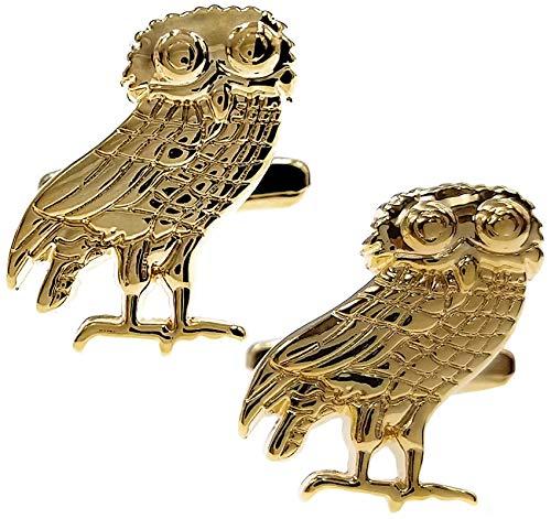 Thot Ra Owl Gold Tone Premium Desing Cufflinks For Men Mod. A.-778