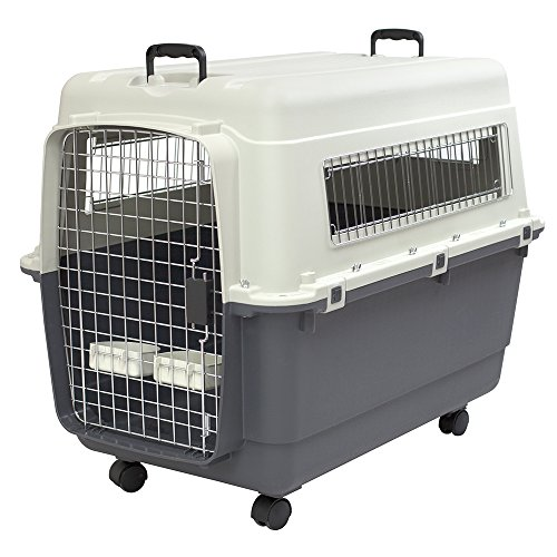 SportPet Designs Plastic Kennels Rolling Plastic Airline Approved Wire Door Travel Dog Crate, X-Large