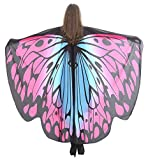 Halloween Butterfly Wings Shawl Cape Scarf Fairy Poncho Wrap Colorful Costume Accessory for Adult Pink-Blue