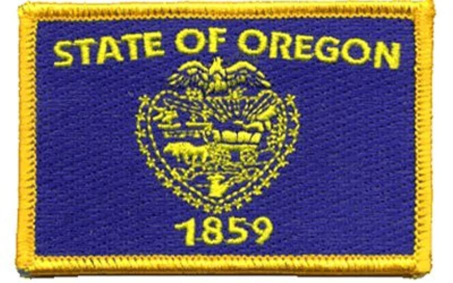 Oregon iron-on embroidered patch