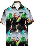 LA LEELA Men's 3D HD Santa Claus Christmas Beach Short Sleeve Casual Hawaiian Shirt 5XL Black_W579