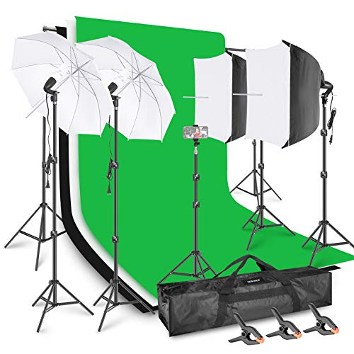 Neewer Photo Video Studio Light Kit Backdrop with Stand and Lighting Kit AM169: 6.4x6.5ft (HxW) Background Support System + 5x10ft Black/White/Green Backdrops, SoftBox and Umbrella Lighting Set
