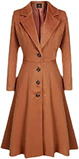 Howely Womens Casual Swing Single Button Over Waist Trench Coat Outwear