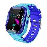 Smartwatch Phone per Bambini, GPS +WIFI Localizzatore di tracciamento con Impermea, Sveglia SOS per il Gioco di Matematica Studente Smart Watch, Regali per ragazzi ragazze dai 4 ai 12 anni, blu
