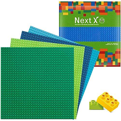 NextX 4 Stück Bauplatte für Classic Bausteine Plastik Grundplatte 25 x 25 cm-Blau + Grün + Hellblau + Hellgrün