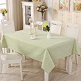 ZYT Waschbar, schmutzabweisend, pflegeleicht, hochwertig,Kleines frisches Tuch Baumwolle Leinen rechteckige Tischdecke Tischdecke grün Gitter 120x120cm