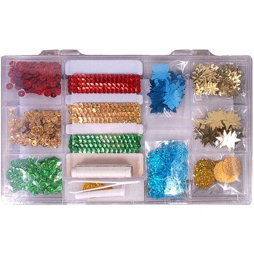 1 stuk pailletten set in plastic doos, ketting- en motief pailletten rood, goud, groen, blauw, 0711