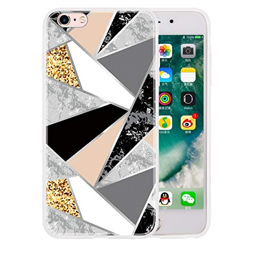 LUSHENG Funda Mármol para iPhone 6 Plus/6s Plus, Cubierta de Parachoques Goma Brillante de TPU Prueba Golpes para Mujeres y Hombres para iPhone 6 Plus/6s Plus 5.5' - Polvo de Oro