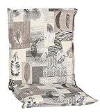 Beo Gartenstuhlauflage Niedriglehner Waschbar Turin | Made in EU Premium-Qualität | UV-beständige Niedriglehner Auflagen | Atmungsaktive Stuhlauflage Niedriglehner mit Feder-Muster in Grau
