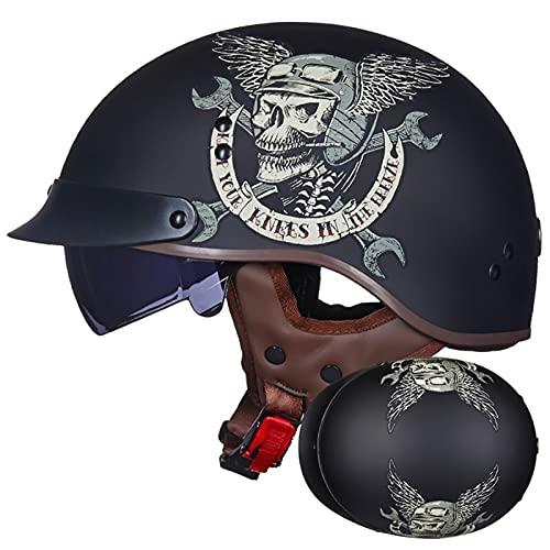 LILIXINGSH Casco Moto Abierto Casco Moto Abierto, Retro Cascos Moto Half Helmet con Visera, Casco Moto Jet Hombre Mujer para Scooter Mofa Crash, ECE Homologado (Color : H, Size : (M/57-58CM))