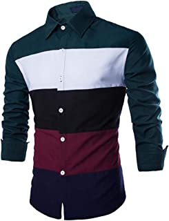 HJHK Men's Long Sleeve Shirt Slim Fit Personality Multicolored Patchwork Casual Fashion Trend Shirt Classic Lightweight Br...