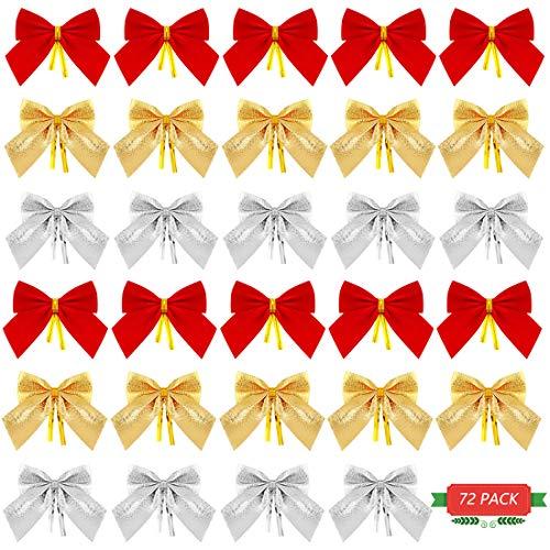 HONGECB 72 Piezas Lazos para Árbol de Navidad, Mini Lazos de Cinta Adornos, Decoraciones de Lazo de Festival, Decoración Colgante de árbol de Navidad, Rojos/Dorados/Plateados