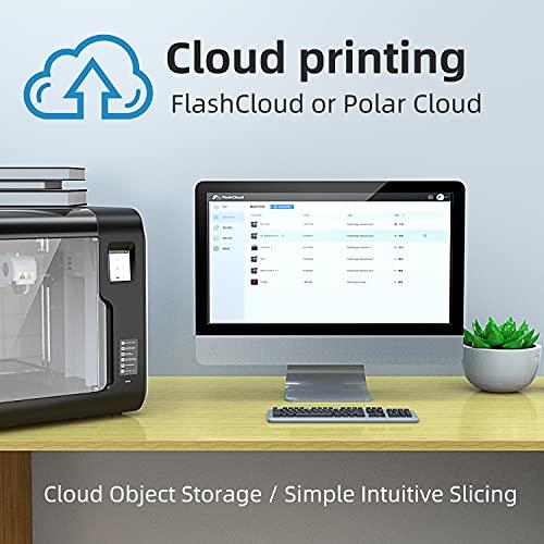 Flashforge 3D Printer Adventurer 3 Pro, cama caliente de cristal de nivelación automática, cámara HD integrada, 8 GB de almacenamiento interno, pantalla táctil, detección de filamentos, impresión en la nube Wi-Fi, totalmente montada 5.906 x 5.906 x 5.906in