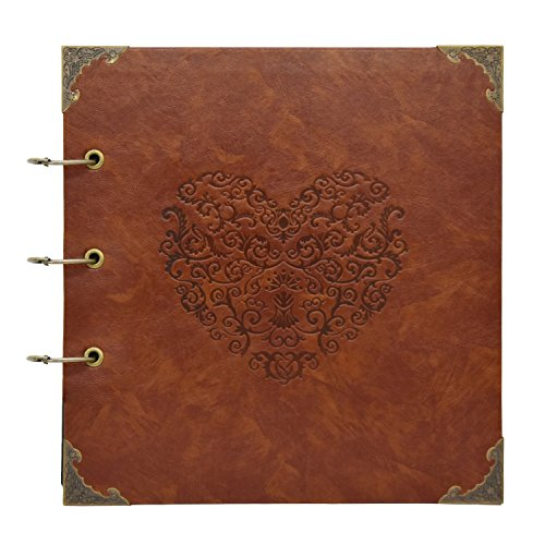 barsone DIY Scrapbook Photo Album, Heart Scrapbook Album 10x10 50 Pages, Hardcover Vintage Leather Three-Ring Binder Picture Booth Albums for Anniversary, Wedding Guest, Family Memory, Travelling
