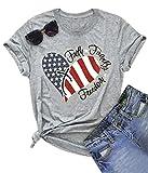 Women American Flag Print Tee Faith Family Freedom Short Sleeve Blouse T-Shirt Tops Size L (Gray)