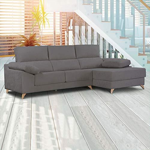 Dreaming Kamahaus Sofa Milos 3 plazas + Chaise Longue Derecha | Asientos deslizantes y reposacabezas reclinables | Tejido SemiNido 2/Antracita | 170 x 295 cm | Envío y Montaje Incluido