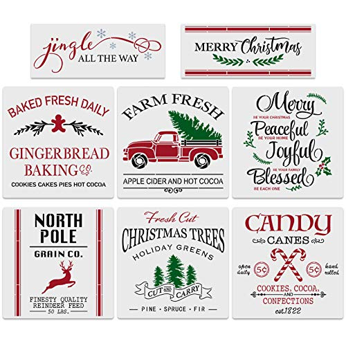 8Pcs Large Christmas Stencils-12x12 Inches Reusable Merry Christmas Stencils Including Candy Cane/Christmas Tree/Gingerbread/Reindeer/Jingle All The Way, Make Your Own Farmhouse Christmas Wood Signs