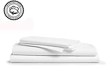 LINENWALAS 800 Thread-Count 100% Pure Cotton Bed Sheets On Amazon 4Pc King Size White Color Sheet Set-Long Staple Combed Cotton Yarns,Best Luxury Sateen Weave,Fits Mattress Upto 16
