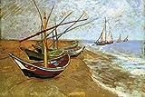 1art1 Vincent Van Gogh - Fischerboote Am Strand Von Saintes-Maries, 1888 Selbstklebende Fototapete Poster-Tapete 180 x 120 cm