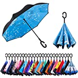Newsight Reverse Umbrella, Double Layer Inverted Umbrella Upside Down, Self Stand, C Shape Handle, Inverse Inside Out Folding for Car, Windproof, Waterproof, Sun Protective (Winter_Love)