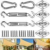 JOYUE Kit di Fissaggio Tenda a Vela 40 Pezzi Kit di Fissaggio e Installazione in Acciaio Inox per Tenda da Sole Rettangolare e Quadrata
