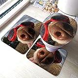 FFLSDR Set di tappetini da Bagno in 3 Pezzi per Cani con Occhiali. Tappetino da Bagno Morbido e Assorbente, Antiscivolo