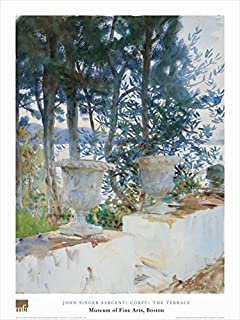 Buyartforless Corfu: The Terrace by John Singer Sargent 32x24 Art Print Poster Greek Famous Painting Water Ocean View Thro...