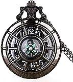 ETRVBSWE Brújula diseño de Moda Vintage Esqueleto Hueco Reloj de Bolsillo Negro Estrellado Esfera Redonda Colgante Antiguo Reloj Regalos Hombres Mujeres