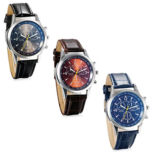 JewelryWe 3PCS Herren Armbanduhr, Retro Klassische Leder Band Quarz Analog Uhr mit Digital Zifferblatt, Blau