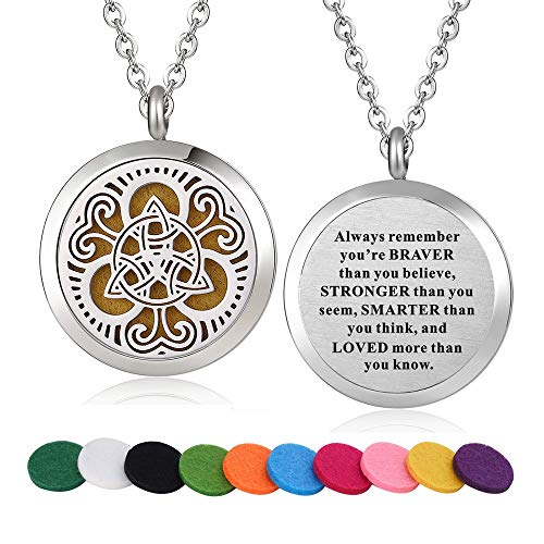 Stainless Steel Totem Aroma Therapy Aromatherapy Essential Oil Diffuser Necklace Locket Pendant (Style 16)