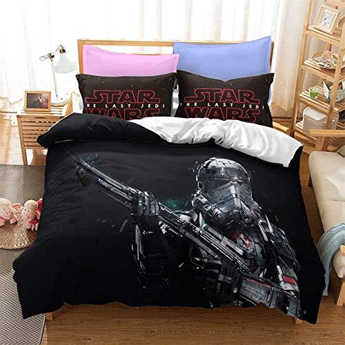 YOMOCO Star Wars - Juego de cama infantil con diseño de Star Wars (135 x 200 cm + 80 x 80 cm x 2)