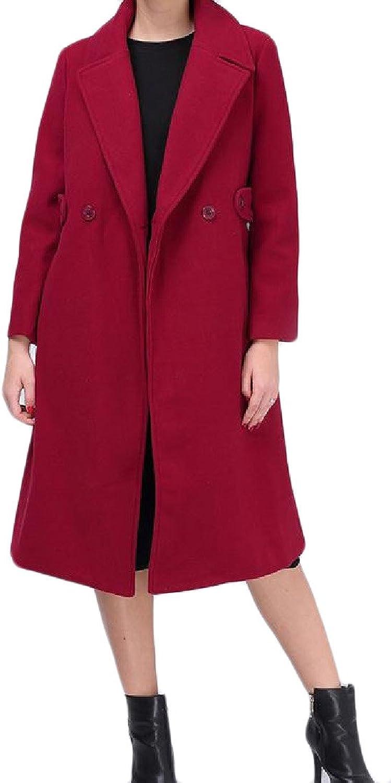 CoolredWomen 2 Button with Pockets Long Sleeve Lapel Woolen Overcoat