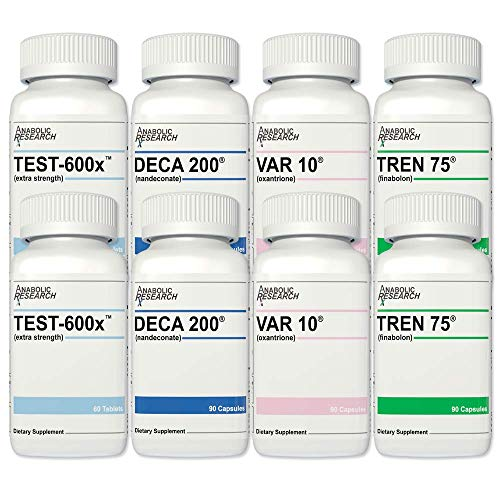 Strength Stack +Plus (Testosterone Enhancement System) - Strength, Power, Muscle Hardening, Recovery - Test-600x™, Deca 200®, VAR 10®, Tren 75® - 2 Month Supply from Anabolic Research™