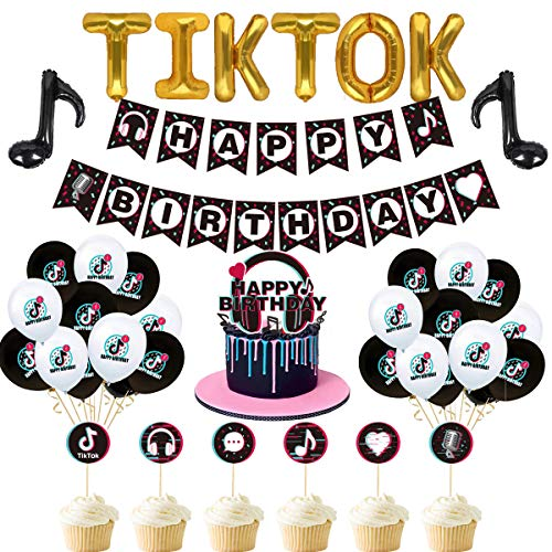 Tik Tok Party Decorations - Tik Tok Birthday Party Decoration Happy Birthday Banner Tik Tok Note Aluminum Balloon Latex Balloon Cake Toppers