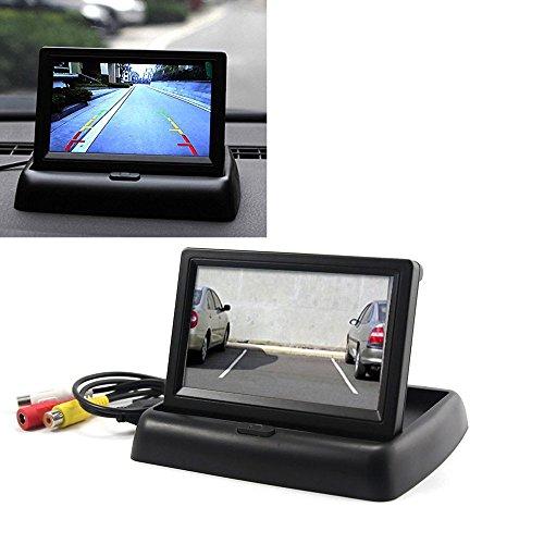 YMPA 11 cm 4 Zoll 4,3 Inch TFT LCD Video Monitor Armaturenbrett für Auto und PKW KFZ Transporter für 12V Rückfahrkamera Rückfahrsystem mit Zwei Videoeingängen LCM-AR43