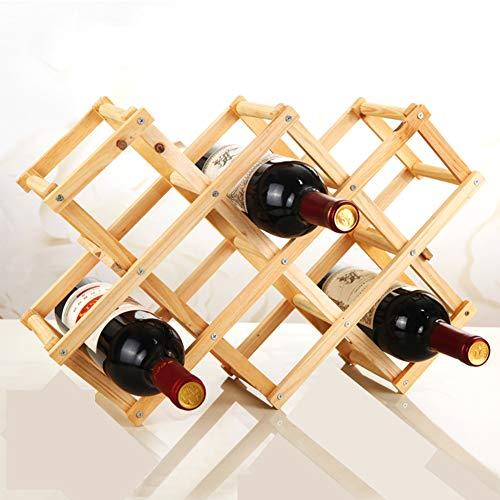 SYSP Maciza Hechos a Mano Escultura de Madera del Vino en Rack, Rack de Vino de Madera con Patas de Madera Vino Titular 10 Botellas de Vino Bastidores