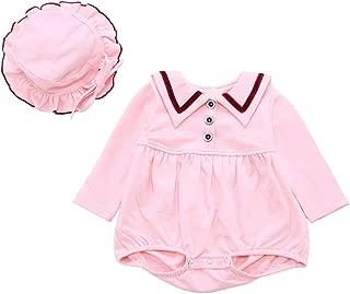 Fairy Baby Infant Baby Girls 2pcs Outfit Clothese Set Sailor Navy Style Lapel Bodysuit+Hat