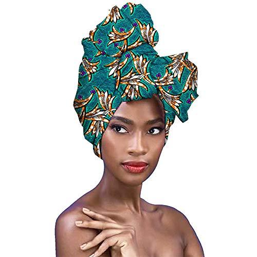 oneforus Mujer Africano Tradicional Impresión de cera Turbante, Multicolor Envoltura de la cabeza, Señoras Accesorio para el cabello Venda Barbijo