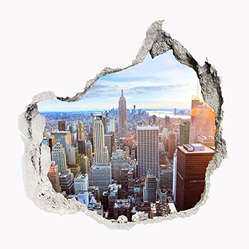 Wandbild Sticker 3D civil Life Foto Tapete Wandtattoo ca. 125x100 cm #1509 (New York Skylines)