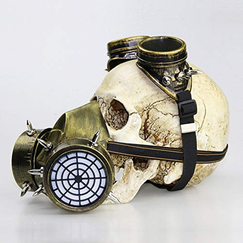 Gasmasker, Steam Punk Phantom Of The Opera Vintage Mechanical Men Venetiaans masker for Maskerade/Party/Ball Prom/Halloween/Mardi Gras (Color : Gold)