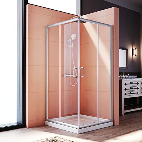 ELEGANT 36'' D. x 36'' W. x 72'' H. Corner Sliding Shower door Double Opening Shower Enclosure, 2 Stationary Panels 1/4'' Clear Glass Shower Door