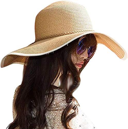 DRESHOW Mujer Sombrero Plegable Verano Sombrero Verano Sombrero ala Ancha Mujer Sombrero de Playa Plegable UPF 50+