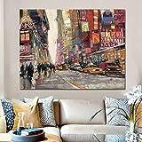 PLjVU Cartel del Arte de la Lona de la Pintura Moderna de la Calle de la Ciudad Europea Pintura Abstracta del Paisaje Imagen de la Pared Sala de Estar sobre Lienzo-Sin marco50X75cm