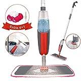 Spray Mop, Tencoz Fregona con Vaporizador, Mopa Fregona con 4 La Almohadilla de Microfibra y 1 Rasqueta de Ducha, Mopa Spray Rotación de 360°, Capacidad de 300 ml, Azul